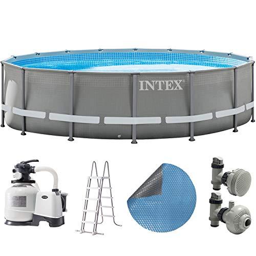 Intex Pool 549x132 cm Schwimmbad Stahlwand Metallrahmen mit Sandfilter, Leiter, Solarfolie