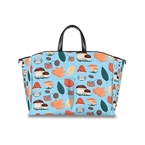 Bolsa de pañales con setas y hojas de otoño y bayas, organizador de cochecito de bebé, impermeable, para mamá, bolsas de viaje con correa de velcro ajustable