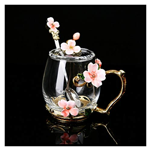 DLRBWAN Copas de Vino Nueva Taza de Vidrio de Flores de Esmalte para café Tazas de té de café Tazas con Cuchara de Taza de Bebidas para la Cuchara, Regalo de Boda, Conjunto de Tazas de té