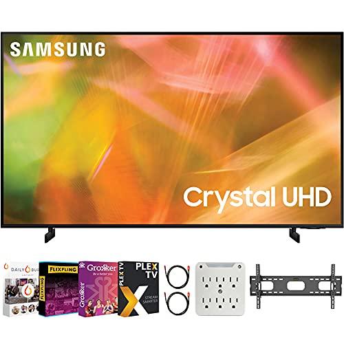 Samsung UN43AU8000FXZA 43 Inch 4K Crystal UHD Smart LED TV 2021 Bundle with Premiere Movies Streaming +...