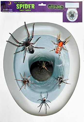 HENTEK Halloween Spinne Toilettendeckel Spinne Sticker Aufkleber für Toilettendeckel Klodeckel WC Sitz Deckel Badezimmer Fenster Wand Horror Partydeko Zubehör