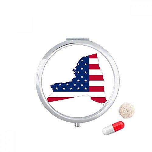 DIYthinker New York USA Kaart Sterren Strepen Vlag Vorm Reizen Pocket Pil geval Medicine Drug Opbergdoos Dispenser Spiegel Gift