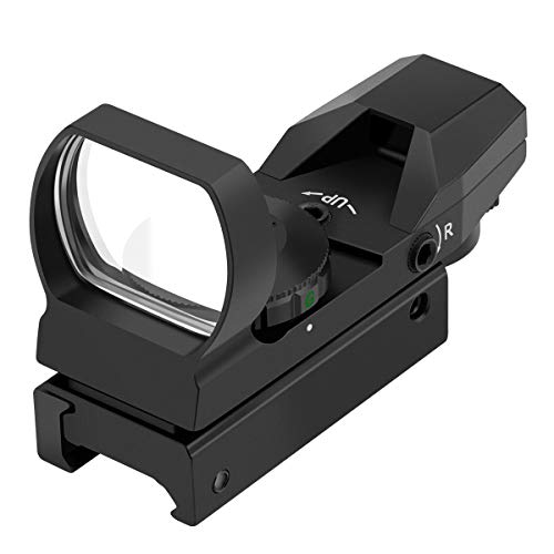 Feyachi RS-29 Reflex Sight, Red & Green Illuminated 4 Reticles Red Dot Sight Gun Sight with 20mm Picatinny Rail, 1x22x33mm