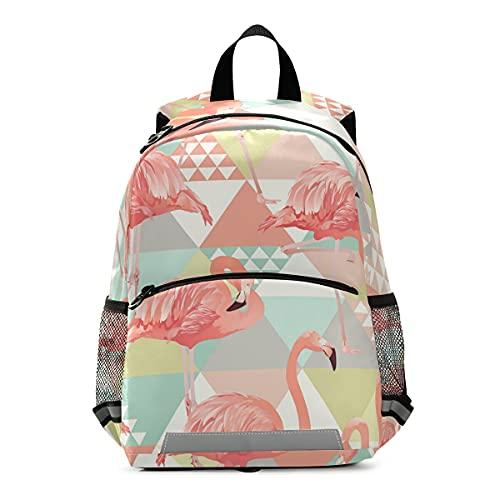 ISAOA - Mochila para niños con riendas para niños y niñas, diseño de flamencos rosados de la selva, mochila de guardería, bolsa de viaje para guardería, con clip para el pecho