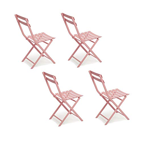 HAMIMI Full Metal Folding Chair Outdoor and Indoor Lounge Chair 4 Pieces Bistro Garden Patio Cafe Folding Chair Chair (Color : Pink)