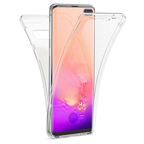 Kaliroo Handyhülle 360 Grad kompatibel mit Samsung Galaxy S10 Plus, Ultra-Slim Full-Body Hülle R&um Hülle Silikon Schutzhülle, Dünne Handy-Tasche Phone Cover Komplett-Schutz TPU Schale - Transparent