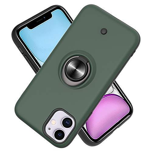 FAWUMAN Hülle für iPhone 11 (6.1inch) mit Standfunktion, Dekomprimierungsknopf, Rotationsgyroskop, PC + TPU Handyhülle Stossfest Case -Dunkelgrün