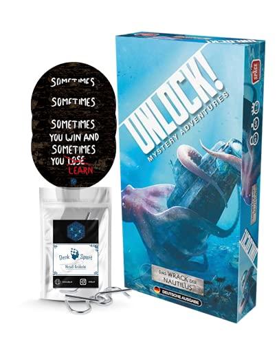 Unlock! - Set de juego de rompecabezas 'Das Wrack der Nautilus (Mystery Adventures) (en alemán) + 3 pegatinas de Escape + 1 adorno de metal