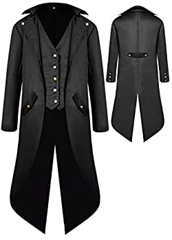 Boys Medieval Tailcoat Jacket Halloween Costumes Gothic Steampunk Vintage Victorian Frock High Collar Uniform Coat Black,Small US6-8