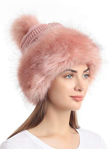 Soul Young Damen Kunstfell Mütze Schwarz Russische Kosak Knit Pompon Ski Schnee Cap für Winter Weiß - Pink - Einheitsgröße