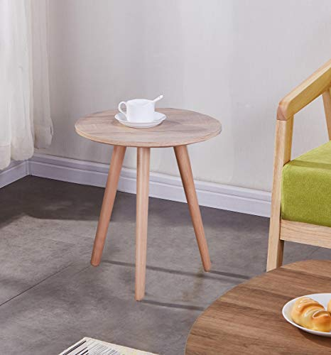 KAIHE Wood End Side Table Round Coffee Table 40cm Modern Small Sofa Bedside Table for Living Room Office Lounge, Light Brown