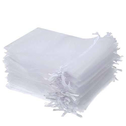 Wady 100 PC-Geschenk-Beutel-Organza Beutel Beutel Schmuckbeutel Hochzeitsfestbevorzugung (weiß)