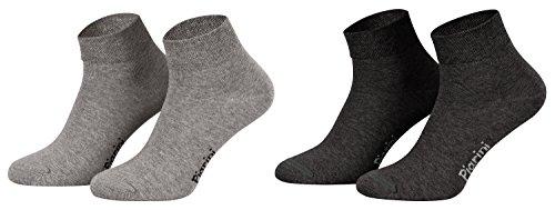 Piarini 8 Paar kurze Socken Kurzsocken Quarter Socken für Damen Herren Kinder - dünn, ohne Gummibund - 4 Paar anthrazit/ 4 Paar grau 39-42