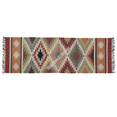 Handicraft Bazarr Alfombra de yute para habitación de niños, tejida a mano, 2 x 6 pies, alfombra tradicional vintage, sala de estar, meditación, yoga, sofá, alfombrilla lateral grande