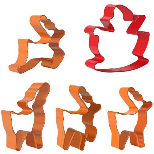 Orapink Christmas Cookie Cutter Set-Sled*1,Elk*4-5 pezzi in acciaio inox Christmas Biscuit Cutters per la cottura