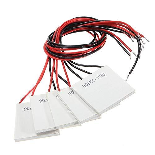 CROSYO 5Piezas TEC1-12706 Disipador térmico Disipador térmico Placa de refrigeración Módulo 12V 6A 72W (Color : Blanco)
