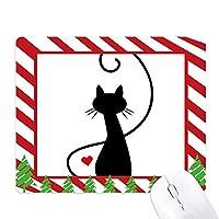 猫のにゃー心の明るい赤色の動物 ゴムクリスマスキャンディマウスパッド