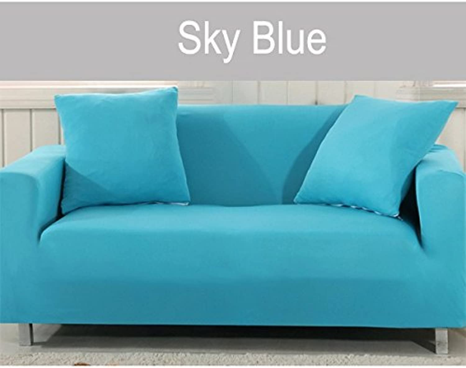 Farmerly Coffee Covers on The Sofa armchairs Couch Cover Fabric slipcover Elastic Corner Sofa Cover l Shaped Stretch Furniture Sofa Cover   Sky bluee, 1 Seater Cover