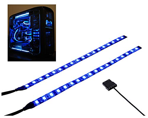 LEDdess PC LED Flexible Light Strip Blue Computer Lighting with Magnetic for Computer Case Lights Kit(11.8INCH,S Series)
