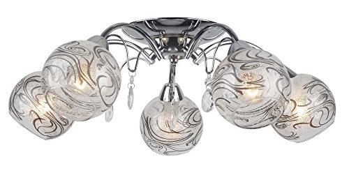 Lampex - Lampadario Aksa 5, in metallo, E14, colore: Bianco