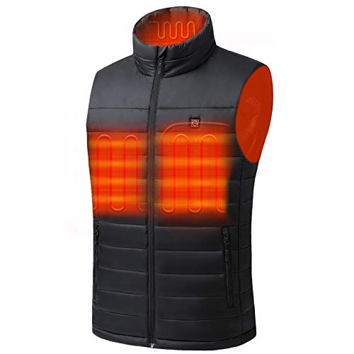 Venustas Men s Heated Vest with Battery Pack 5V,YKK Zippers and Water&Wind Resistant Black