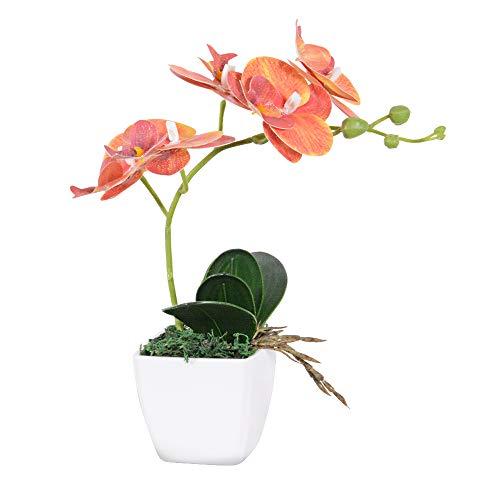 VIVILINEN Flores Artificiales Plásticos Flor de Phalaenopsis Realistas Orquídea Mariposa con Maceta Imitación Cerámica Decoración Cálida para Hogar Dormitorio y Oficina (Naranja)