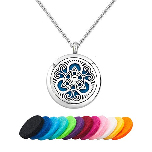 Infinite Memories Essential Oil Diffuser Necklace Pendant Stainless Steel Locket Aromatherapy Light (Celtic Knot 3)