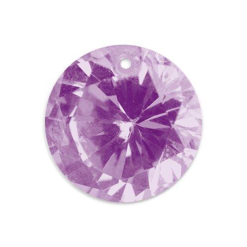 Artistic Wire Beadalon CZ-Gem Dropz Round 6mm 1-Hole, Purple, 5-Piece