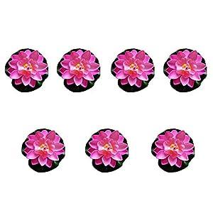 FengShuiGe 7Pcs 3.9 Inch Artificial Lotus Flower Artificial Flower Pool Aquarium Decoration Eternal Flower Artificial Flower (Pink)