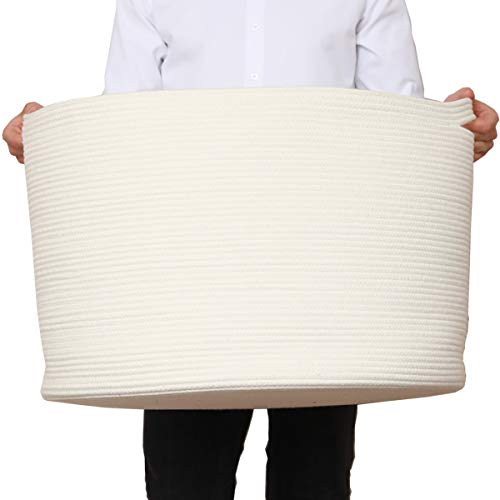 "24"" x 24"" x 17"" Max Size Large Cotton Rope Basket, Extra Large Storage Basket, Woven Laundry Hamper, Toy Storage Bin, for Blankets Clothes Toys Towels Pillows in Living Room, Baby Nursery, All White"