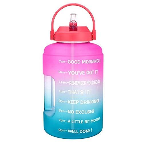 2.5L 3.78L Botellas de agua de plástico de boca ancha de galón con pajita Deporte Fitness Turismo Viajes Jarras Soporte para teléfono-2500ML 2.5L 73oz, Pink-A-Blue