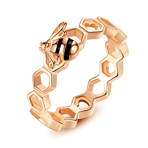Qings Bee Rose Gold Ring Sterling Silver Engagement Wedding Rings Jewelry for Women Ladies Girls