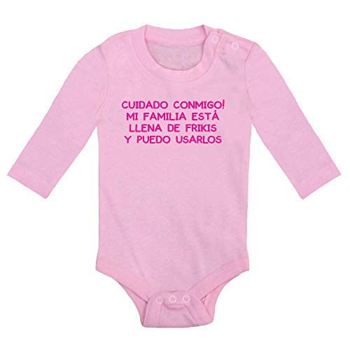 ClickInk Body bebé Familia de frikis. Regalo bebé. Regalos para bebés. Regalo divertido. Regalo original. Bebé friki. Regalo friki. Body friki. Body bebé algodón. Manga larga. (Rosa, 9 meses)