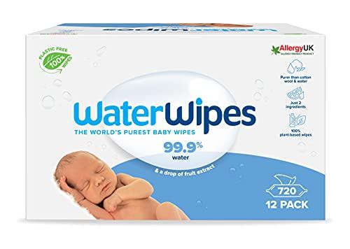 WaterWipes Salviette Umidificate, Salviette Neonato per Pelli Delicate, 99.9% di Acqua Purificata, Biodegradabile, 60...