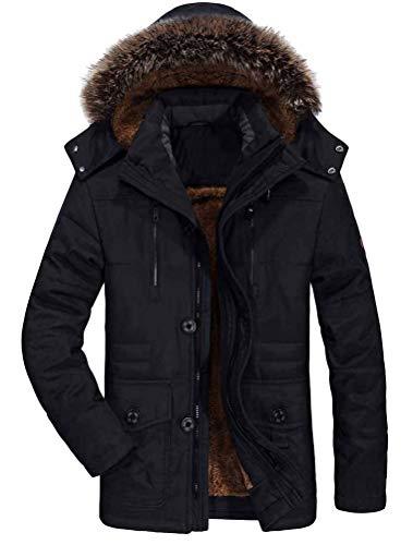 Mallimoda męska ciepła kurtka zimowa parka, długi płaszcz zimowy ze sztucznym futrem, kaptur z podszewką, pikowana kurtka