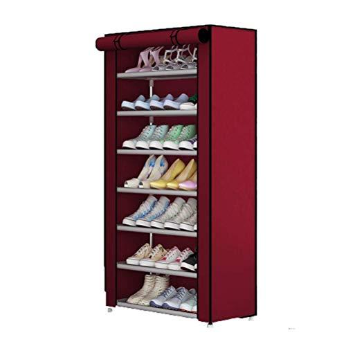 CHUTD Zapatero de Tela Oxford Desmontable Organizador de Zapatos Impermeable y a Prueba de Polvo Almacenamiento de Zapatas de 5 Niveles Almacenamiento para Dormitorio, Sala de Estar, marrón, Rojo,