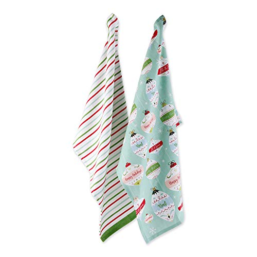 DII Cotton Christmas Holiday Decorative Dish Towels, 18x28', Set of 2-Holiday Ornaments and Stripes