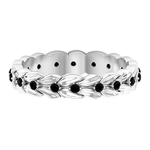 Rosec Jewels 18 quilates oro blanco black Diamond Round H-I Diamond