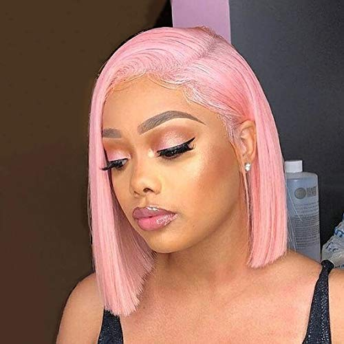 Pink 10 Inch Synthetic Hair Wigs Short Bob 150% Density Short Straight Hair Lace Frontal Wig For Black Women With Baby Hair Bleached Knots (10 Inch/lace frontal wig, Pink)