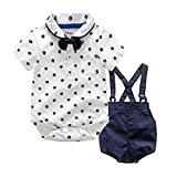 LEHOUR Baby Jungen 2 Stcke Taufe Anzge Bowtie Shirt Top + Hosentrger Strap Shorts, Formale Kinder Party Outfit Gentleman Kleidung Sets 0-24 M