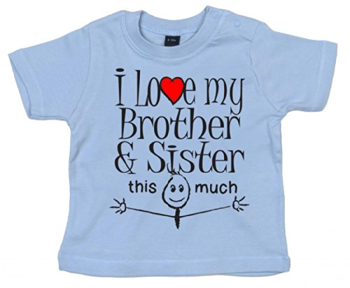 Dirty Fingers, I Love My Brother & Sister This Much, Baby T-Shirt, 0-6m, Hellblau
