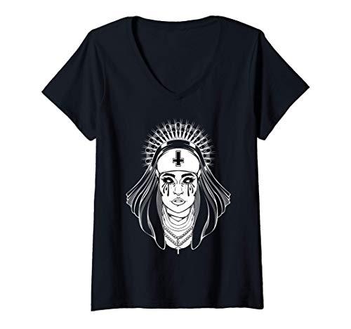 Mujer Religión Negra Religión Gótica Hermana Malvada Cruz Tatuaje Camiseta Cuello V