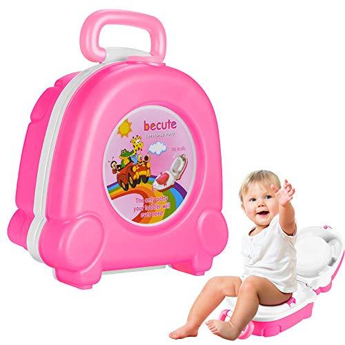 Tragbarer Reise-Töpfchensitz für Jungen und Mädchen, sicheres Töpfchen, perfekt für Camping, Autoreisen, Rosa