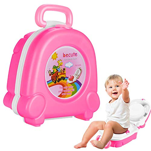 Portable Travel Potty Seat for Boys and Girls Safety's BeCute Potty Perfect for Camping Car Travel (Pink)