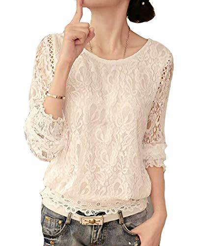 Cheerlife Elegant Damen T-Shirt Spitze Langarmshirt/Kurzarmshirt Spitzenshirt Top Bluse Shirt Tunika Hemd (Europäische Gr.40/ Etikett Gr.3XL, 1 Weiß)