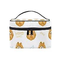 メイクボックス ポン ポメラニアン 犬 柄 化粧ポーチ 化粧品 化粧道具 小物入れ メイクブラシバッグ 大容量 旅行用 収納ケース