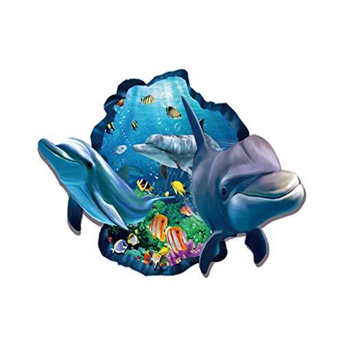 Pegatinas Naturaleza y Dolphin pescado pegatinas de pared arte de la etiqueta decoración de la habitación decoración de cáscara y palillo auto - adhesiva for Jardín Salón Dormitorio Cocina Sala de jue