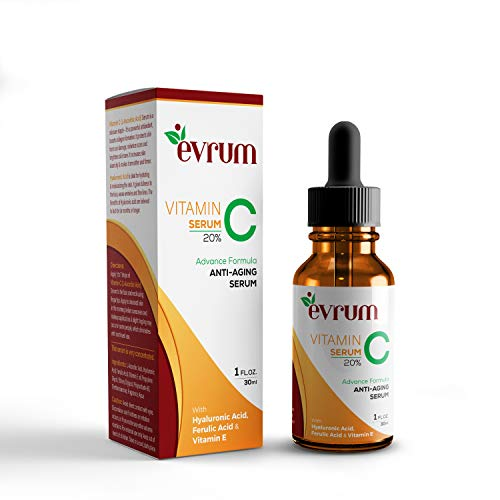 Evrum 20% Vitamin C Facial Serum With Hyaluronic Acid and Ferulic Acid | Anti-Aging Collagen Booster - Anti Wrinkle & Anti Ageing - 30ML