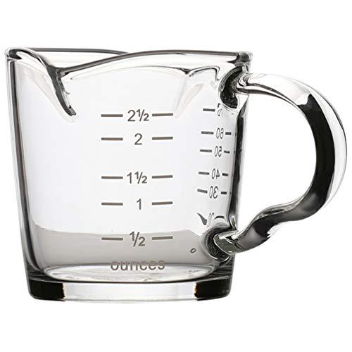 Cabilock Doppeltausen Espresso Schnapsglas Becher mit Skala Temperaturbeständig Glas Messbecher mit Ausgießgriff