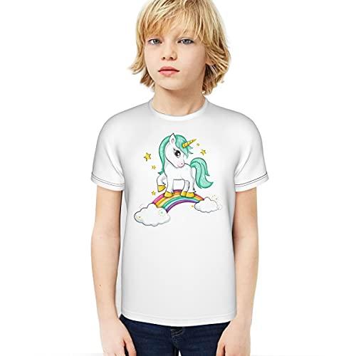 Cantoma Süßes Magisches Einhorn und Regenbogen Junge T-Shirt 3D Gedruckt T-Shirt Home Studentscute Magisches Einhorn und Regenbogen Schwarz Gr. S, Schwarz